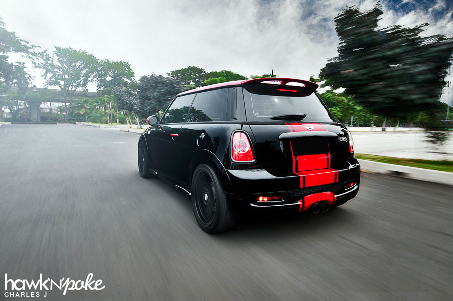 Red Mini Cooper Black Stripes With Black And Red Stripes